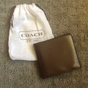 Brand new brown leather coach wallet